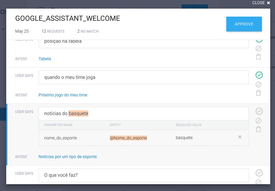 Training view from DialogFlow platform.