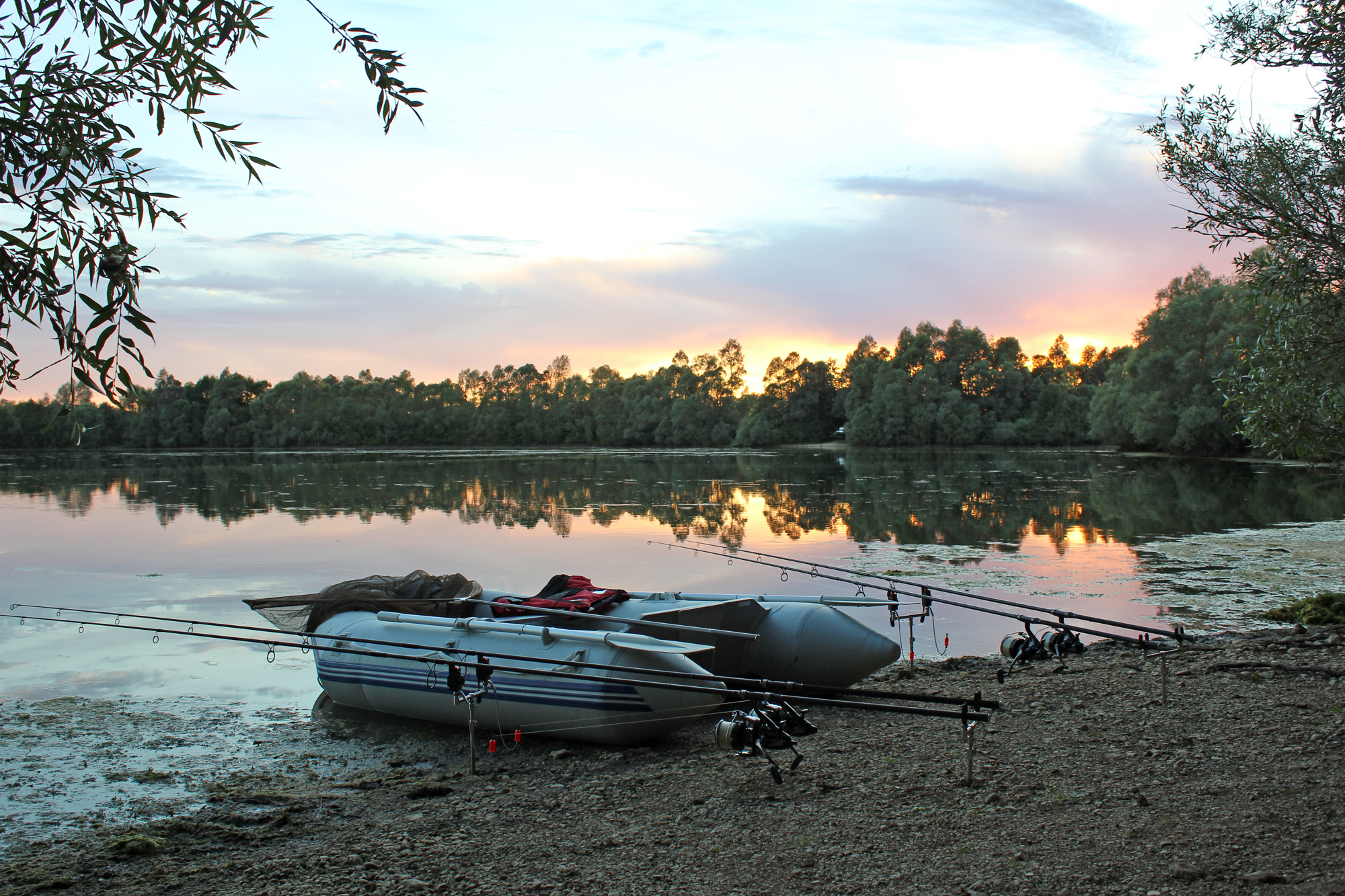 An inflatable boat is an essential tool for a lake like this