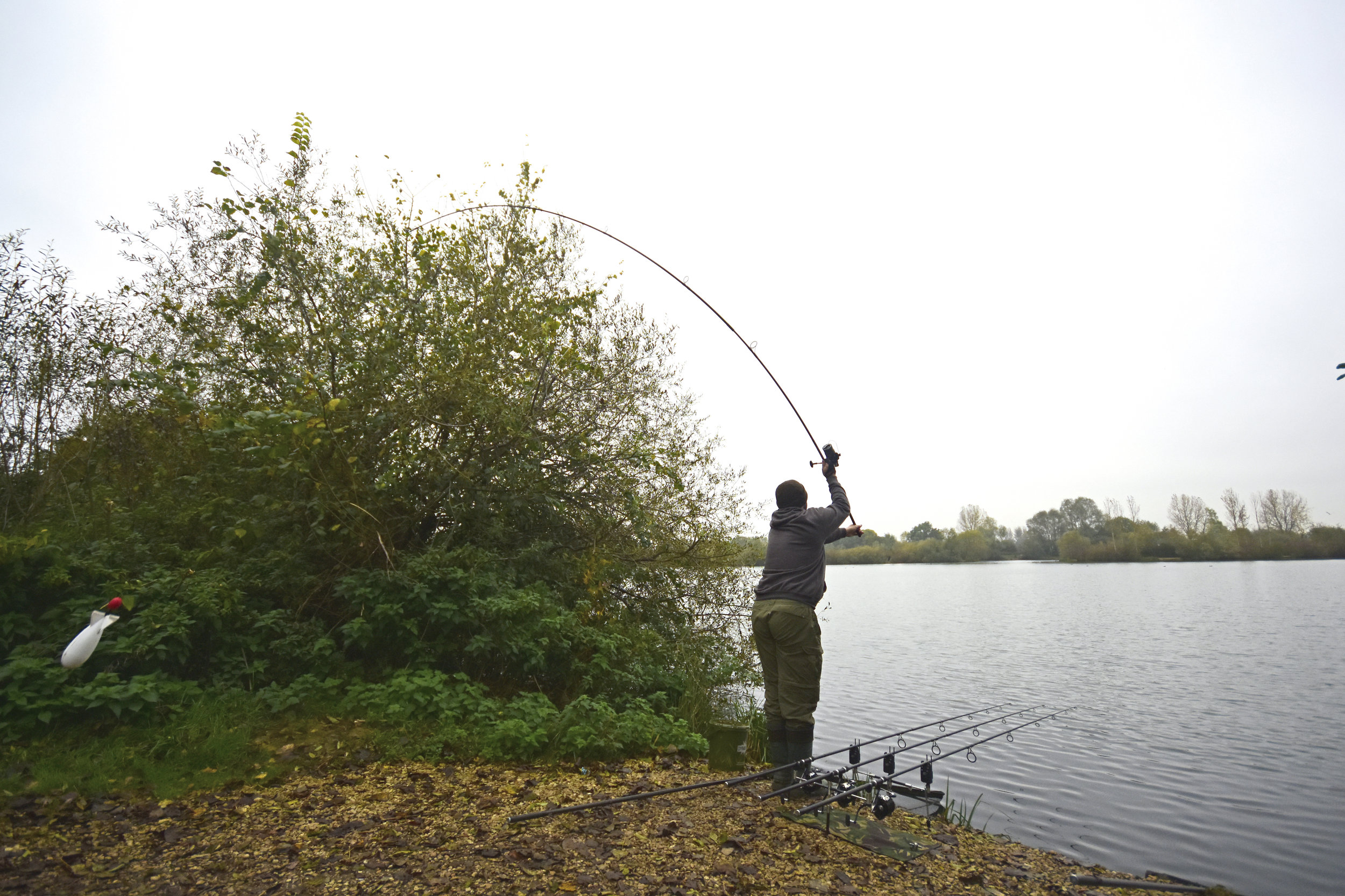 At Linear everyone spods, but it s usually the same type of mix - hemp, corn and boilies.