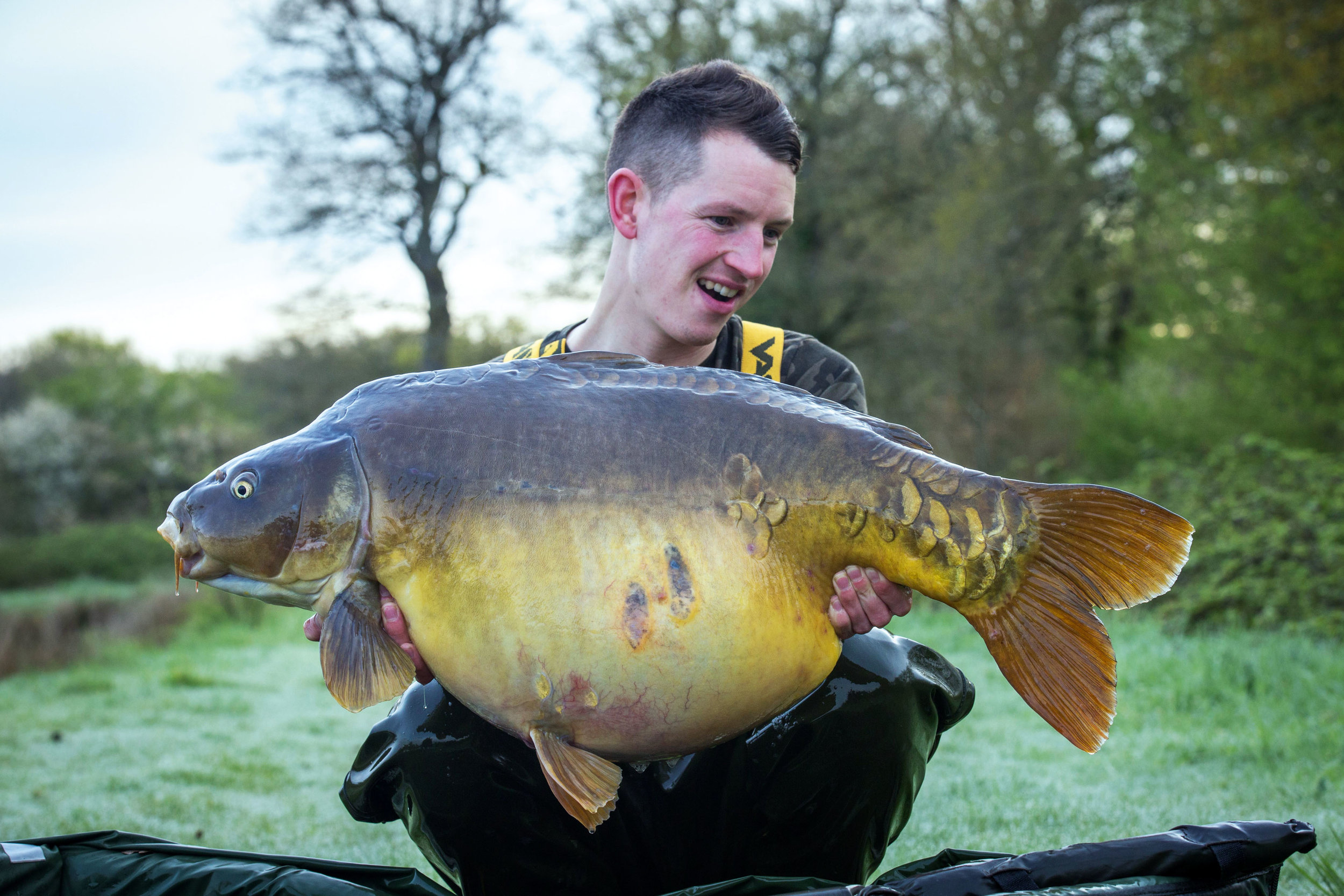 Stuart, with the first big fish of the trip, at 49lb