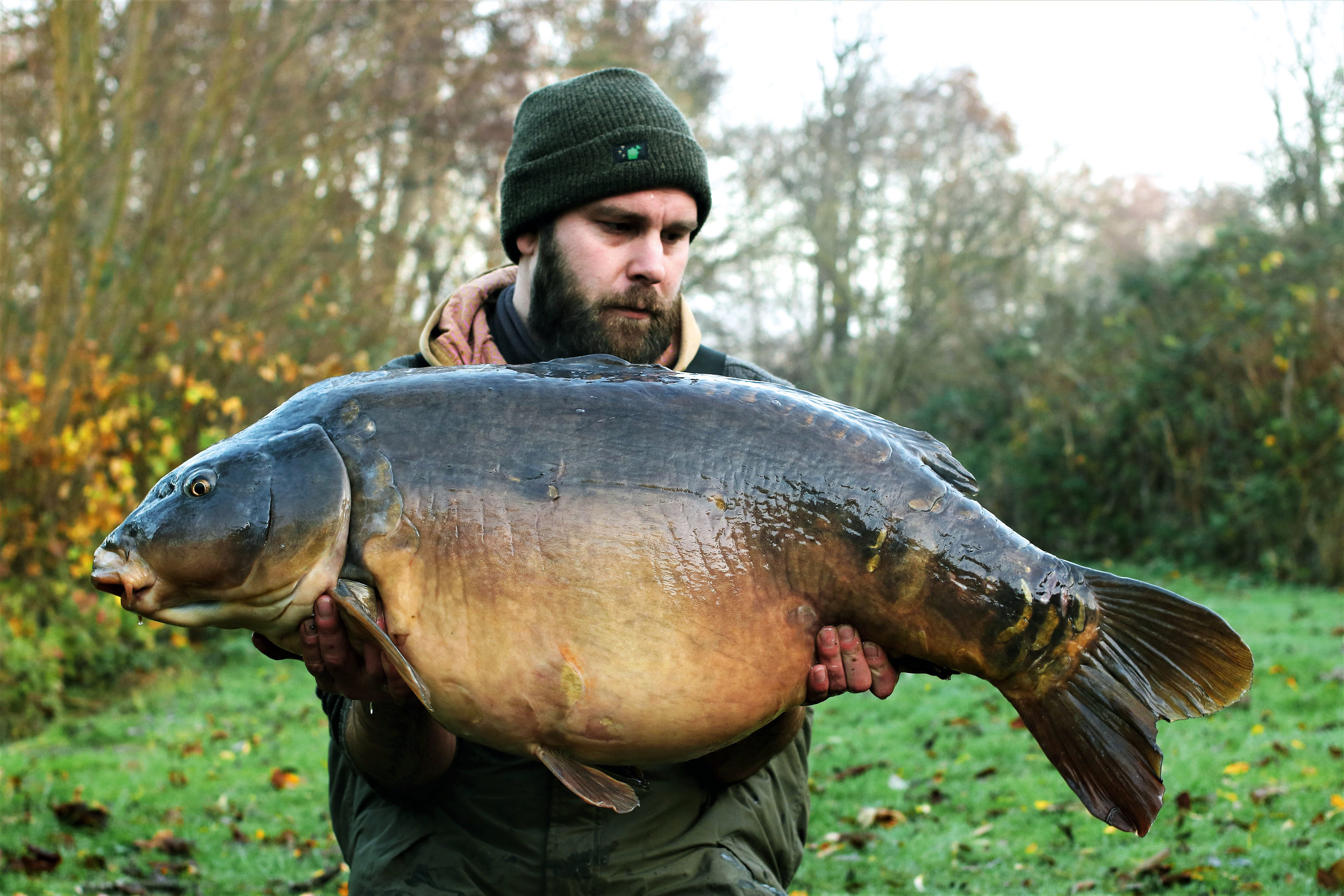 The biggest fish in the lake, The Scarred Mirror, fully replenished and weighing a huge 54lb 8oz. It was a new PB for him