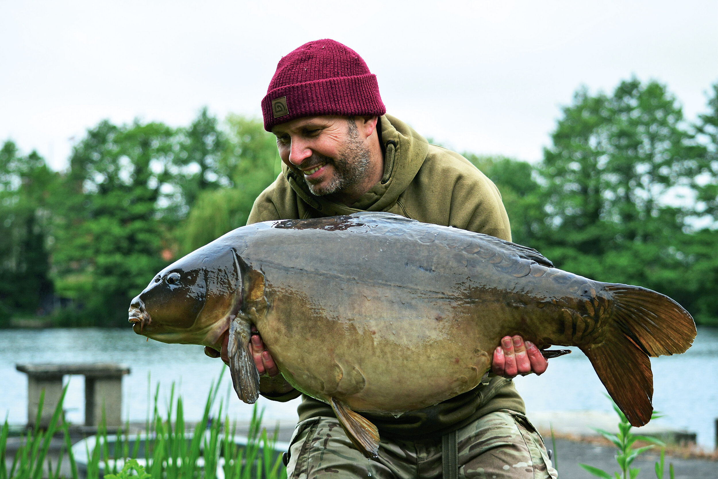 A superb 40-pounder caught on Dave's Chod Rig following a sighting in a similar situation to the one he described