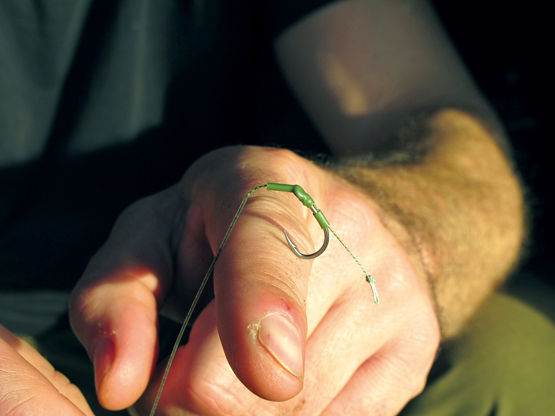 Note how the hook on the stiff-coated version can drop nicely over a carp's bottom lip when a small section of the coating below the hook eye is peeled back