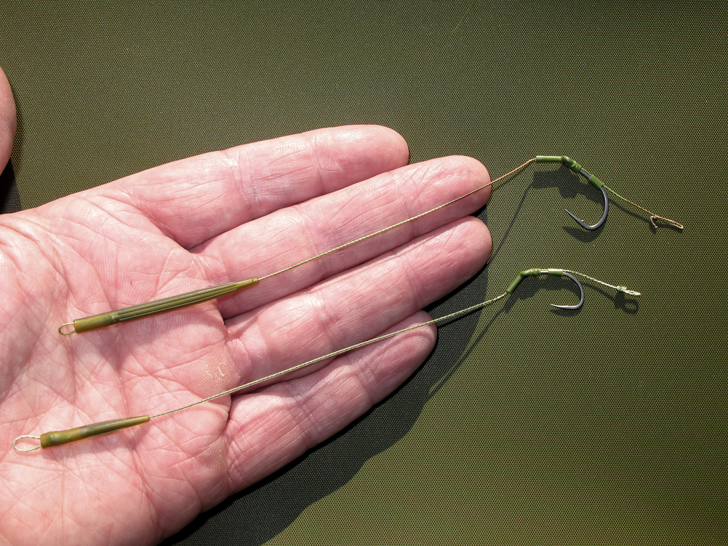 Two versions of the same blow-back rig for bottom baits and  wafters with favoured beaked-points. Top is the soft-coated  version, bottom is the stiff-coated for distance fishing