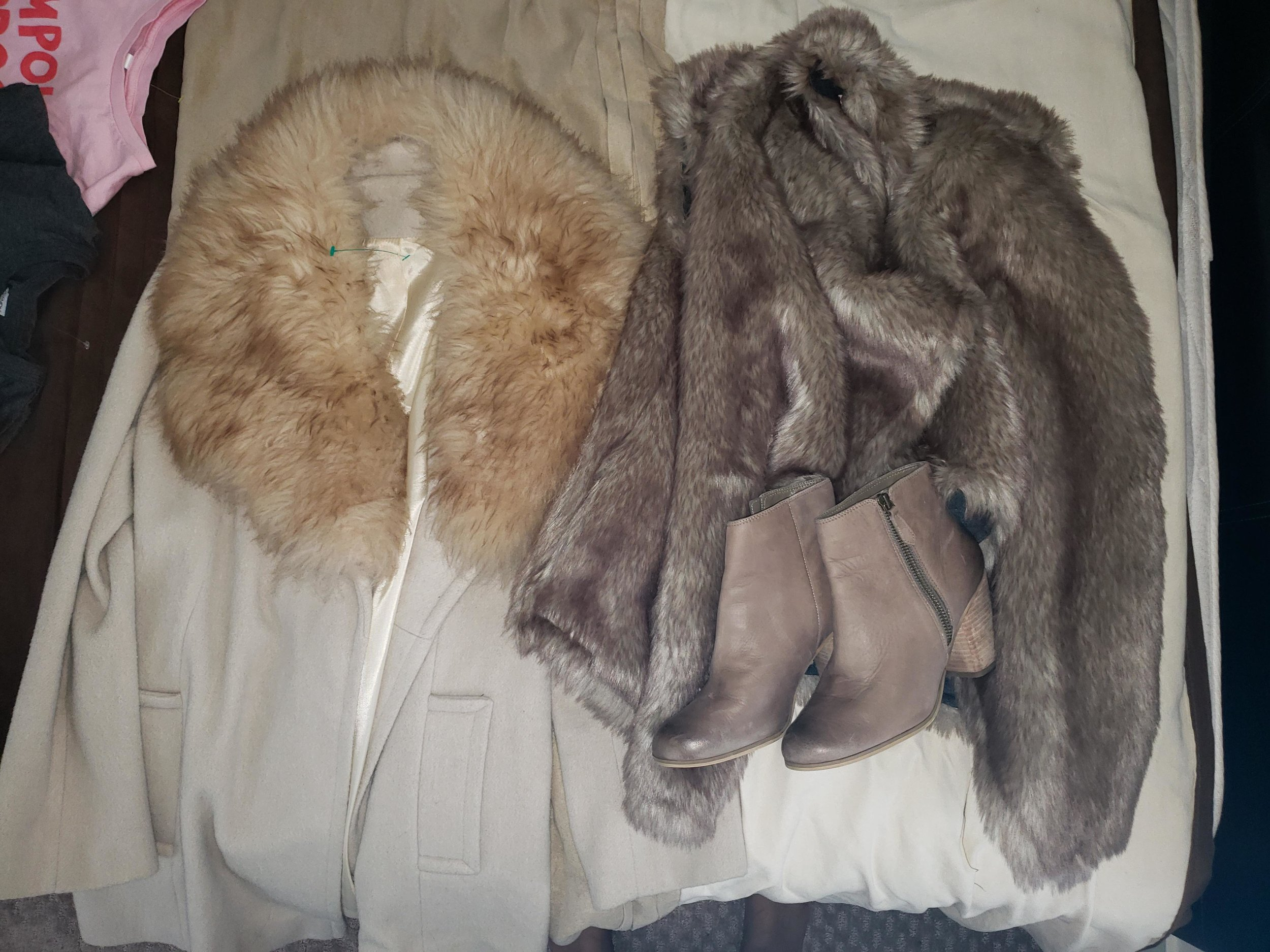 wool coat with fur collar, fur vest & b.p. by nordstrom boots