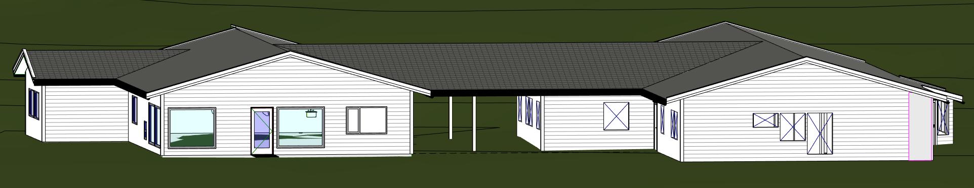 Illustrasjon av barnehagen med det nye tilbygget til venstre.