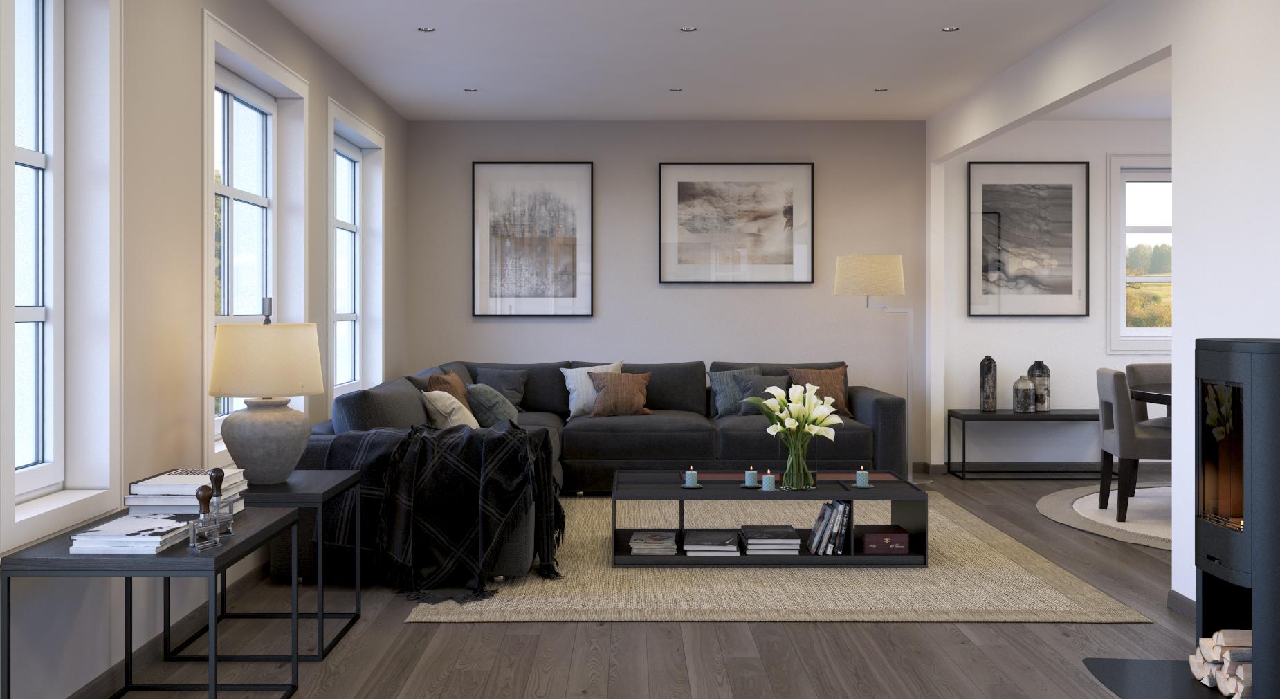 Frisk opp stova med nye veggar og golv! Kanskje med downlights i taket og ny vedomn?