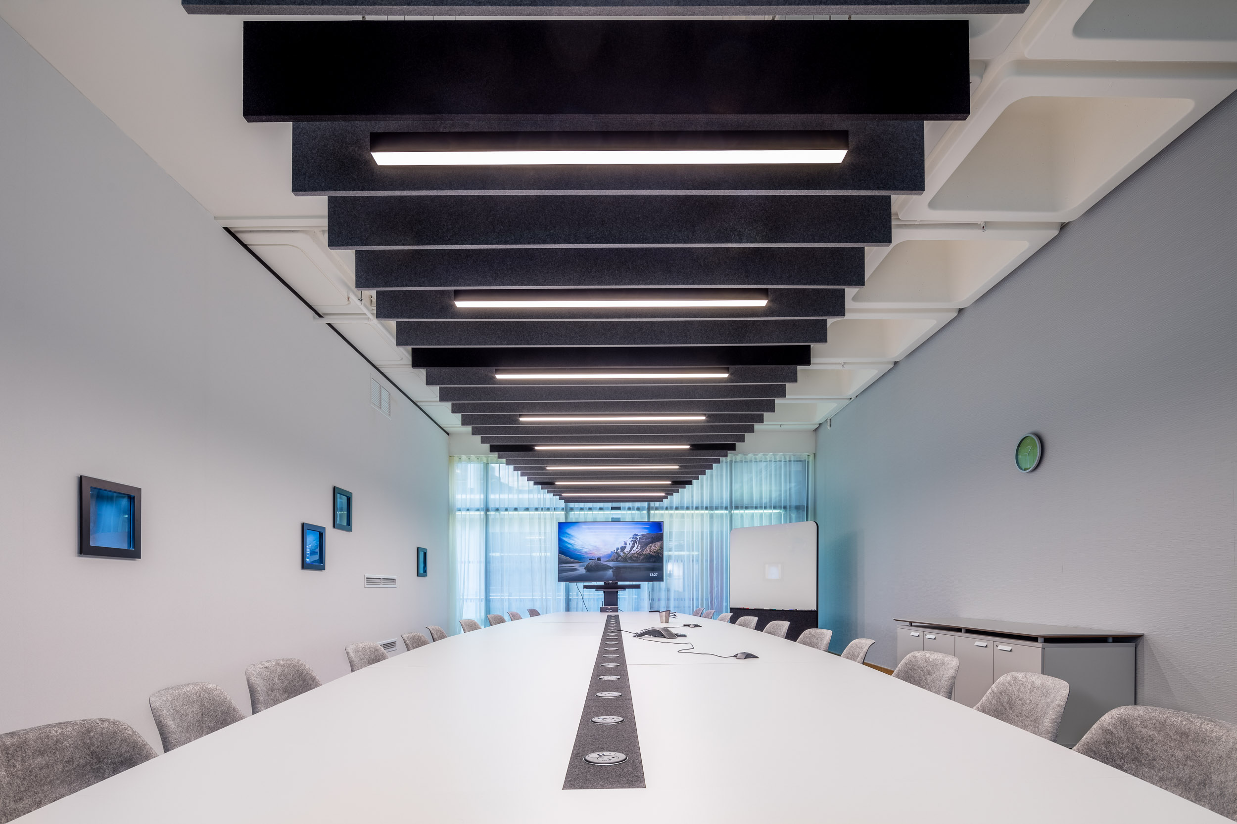 Board room acoustic lighting panels