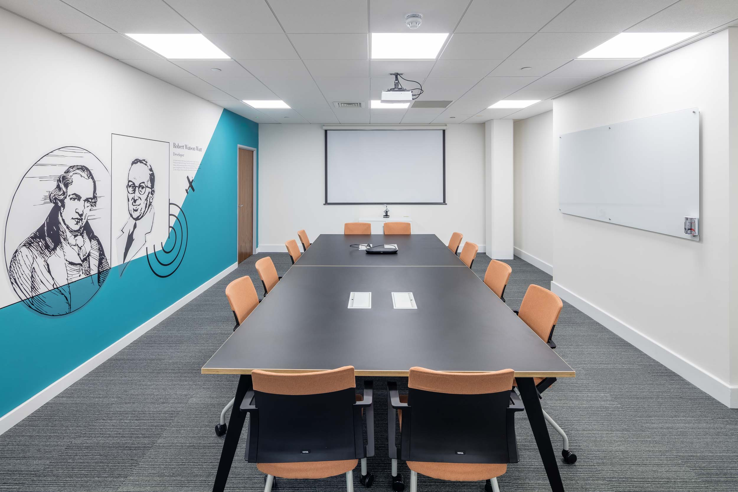 meeting room with graphics manifestation