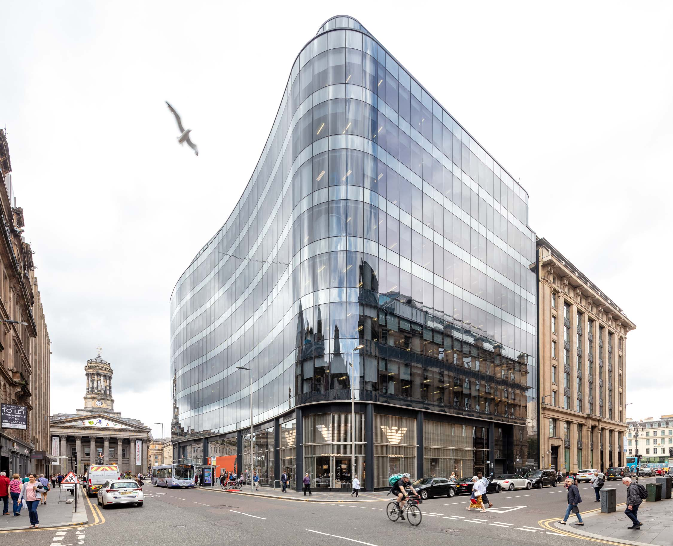Grade A office space in Glasgow, IngramStreet / HannoverStreet / QueenStreet. 110 Queen Street is a mixed-use development offering retail and office space totalling an impressive 224,000ft² encased within a concave façade of curtain wall glazing. It offers one of the best addresses in Glasgow's central business district. It won the Scottish Property Awards in the  Architectural Excellence  Awards category (Commercial Buildings 2016).