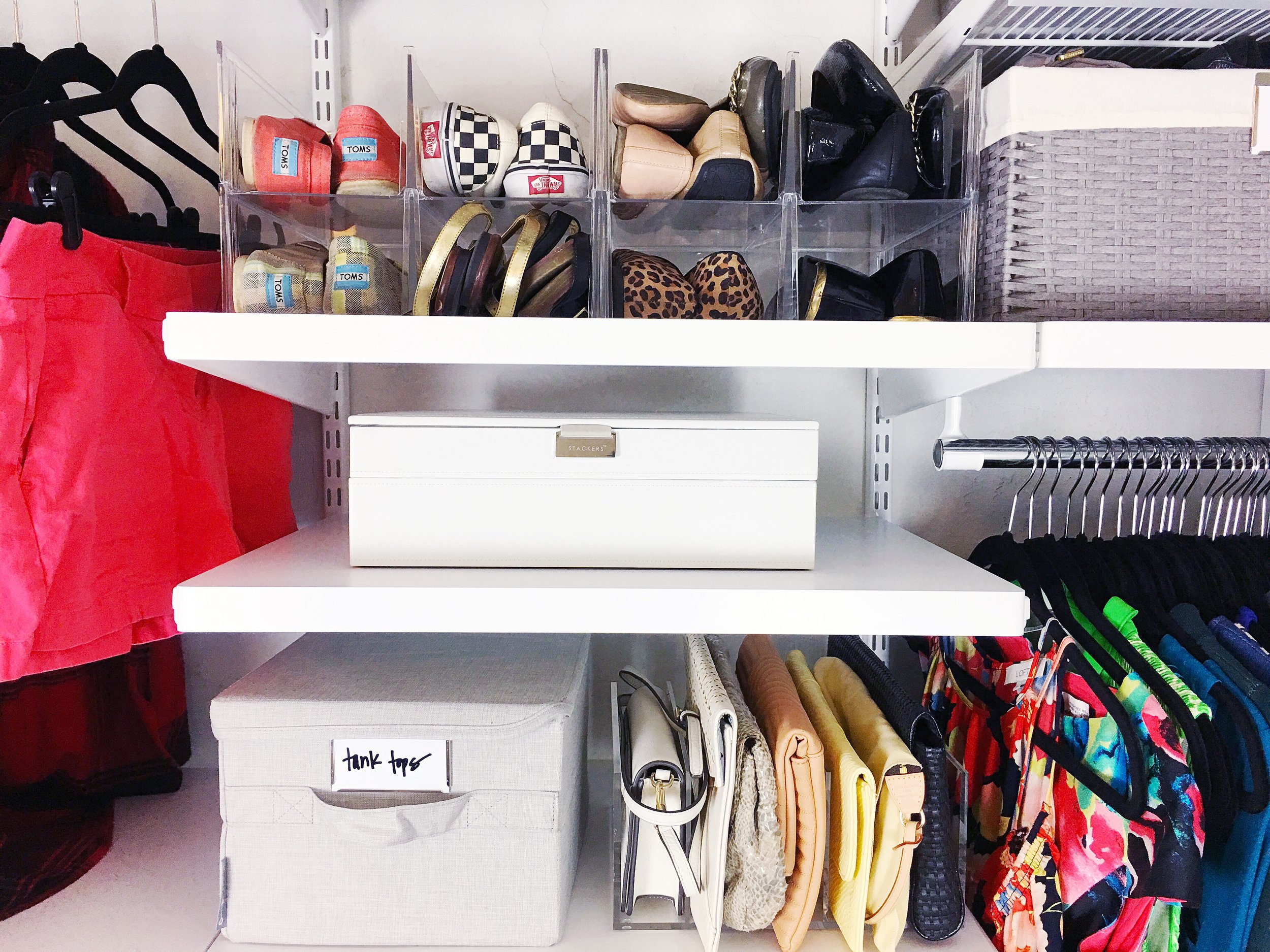 shoe, jewelry, and clutch organization