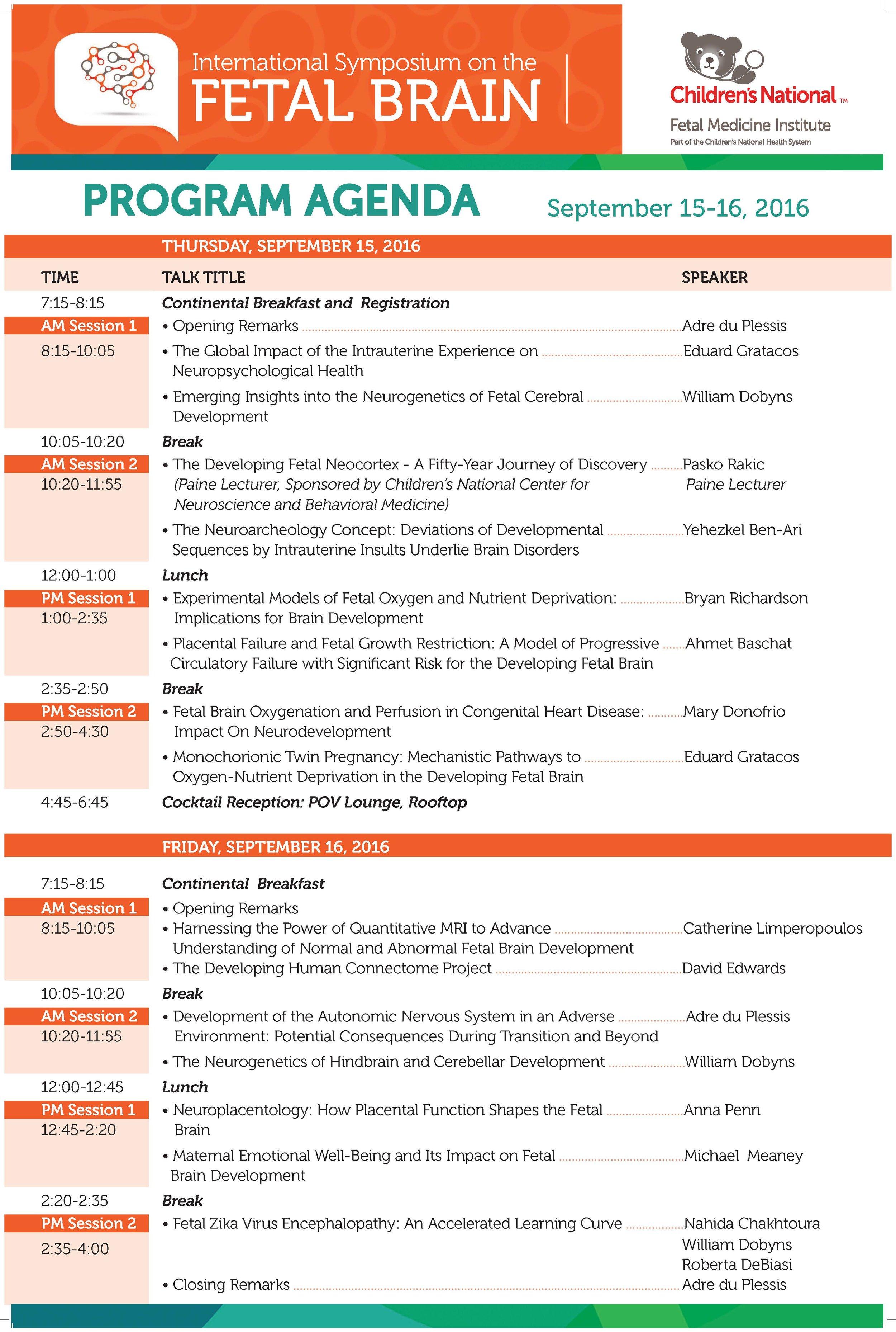 2016 ISFB Agenda