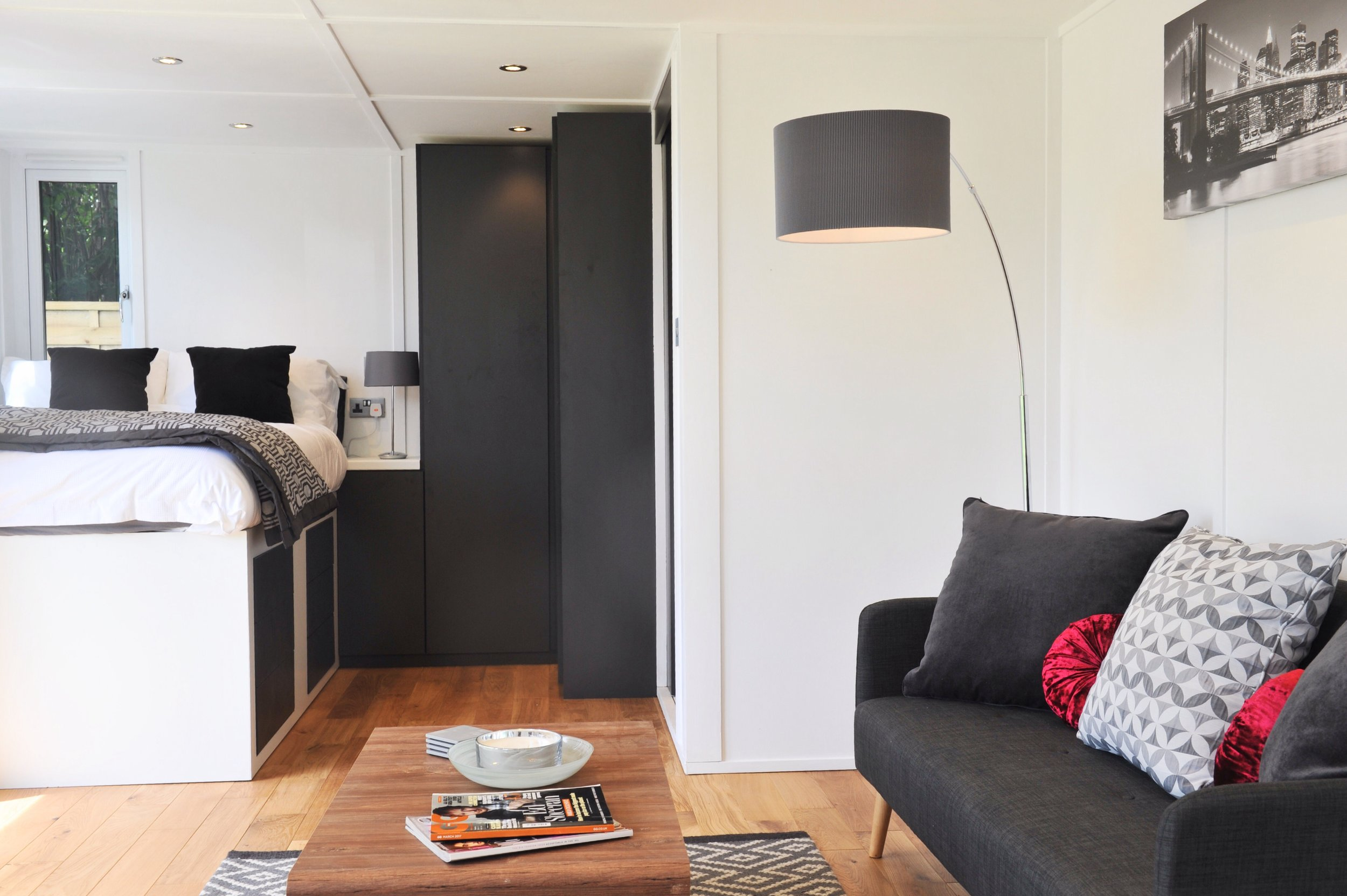 Interior of the Zedbox 635 - With Highline Loft Bed, Bedside Cabinet & Floor to Ceiling Wardrobe