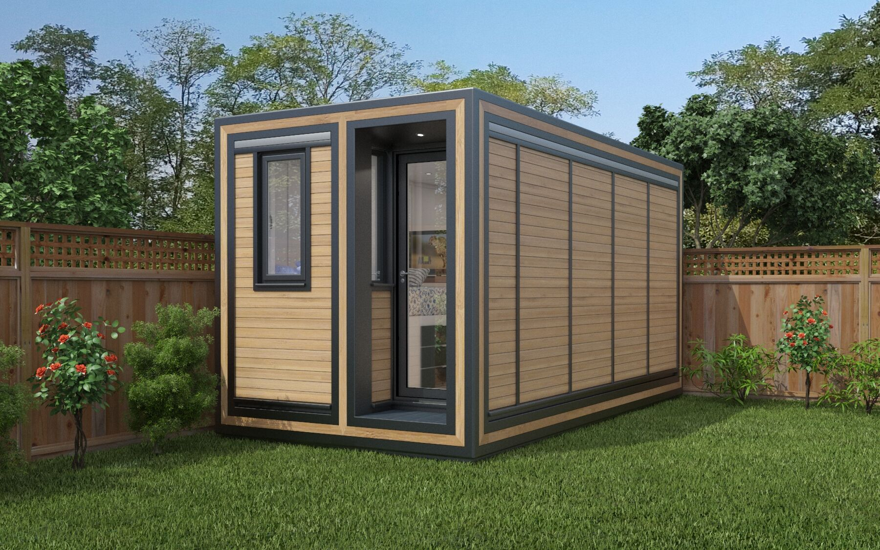 Garden pods perfect for narrow gardens, the 245 packs a lot of living space into a tiny footprint.
