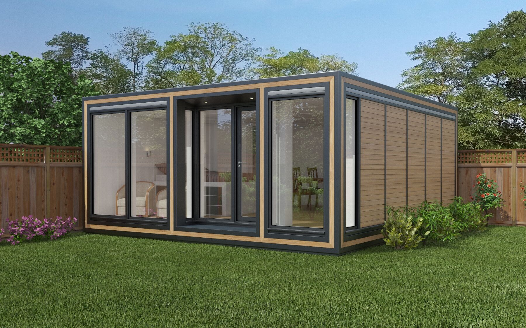The substantial Zedbox 555 garden lodge provides 5.3m x 5.8m of interior space. Garden guest houses from just £47,000.