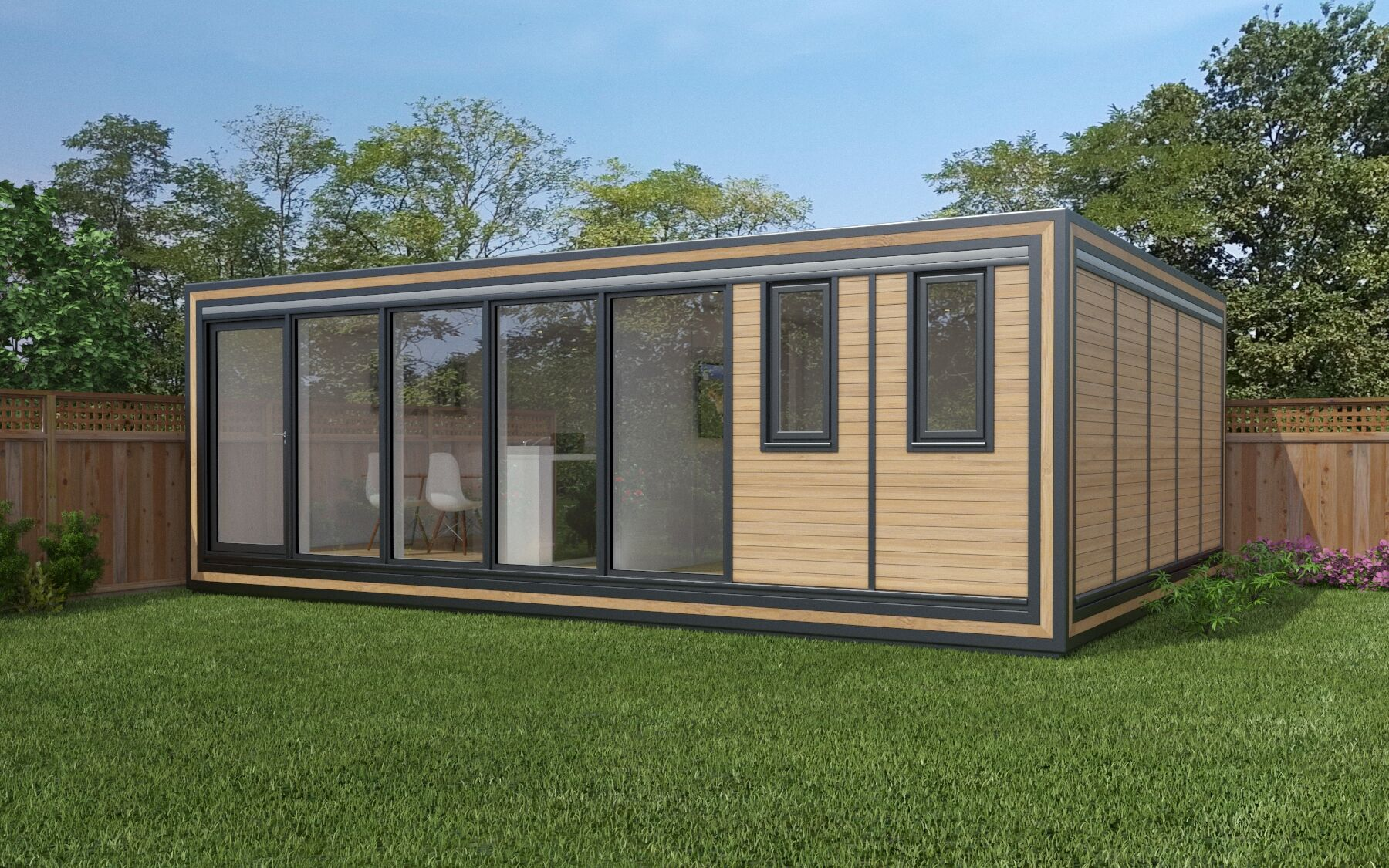The Zedbox 750 offers a comfortable garden house for four, with substantial interior measurements of 7.5m x 5.3m. Contemporary granny annexes from just £53,000.