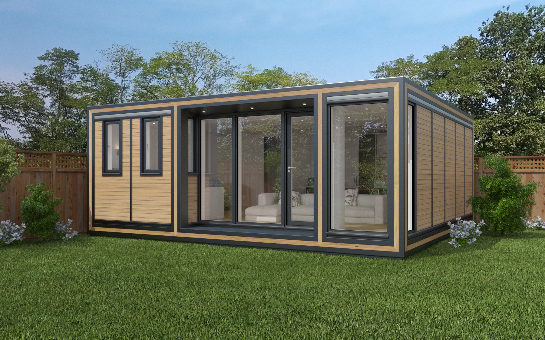 ZEDBOX 655  (6 x 5.5)  Internal Size: 6401 x 5888  External Size: 6871 x 6358  Bed Options: Single, Double or two doubles.  Kitchen Options: Micro Kitchen or Kitchen  Wet Room Options: Yes  Portico: Yes  Price:  £49,000    Optional Extras    Request Zedbox Catalogue