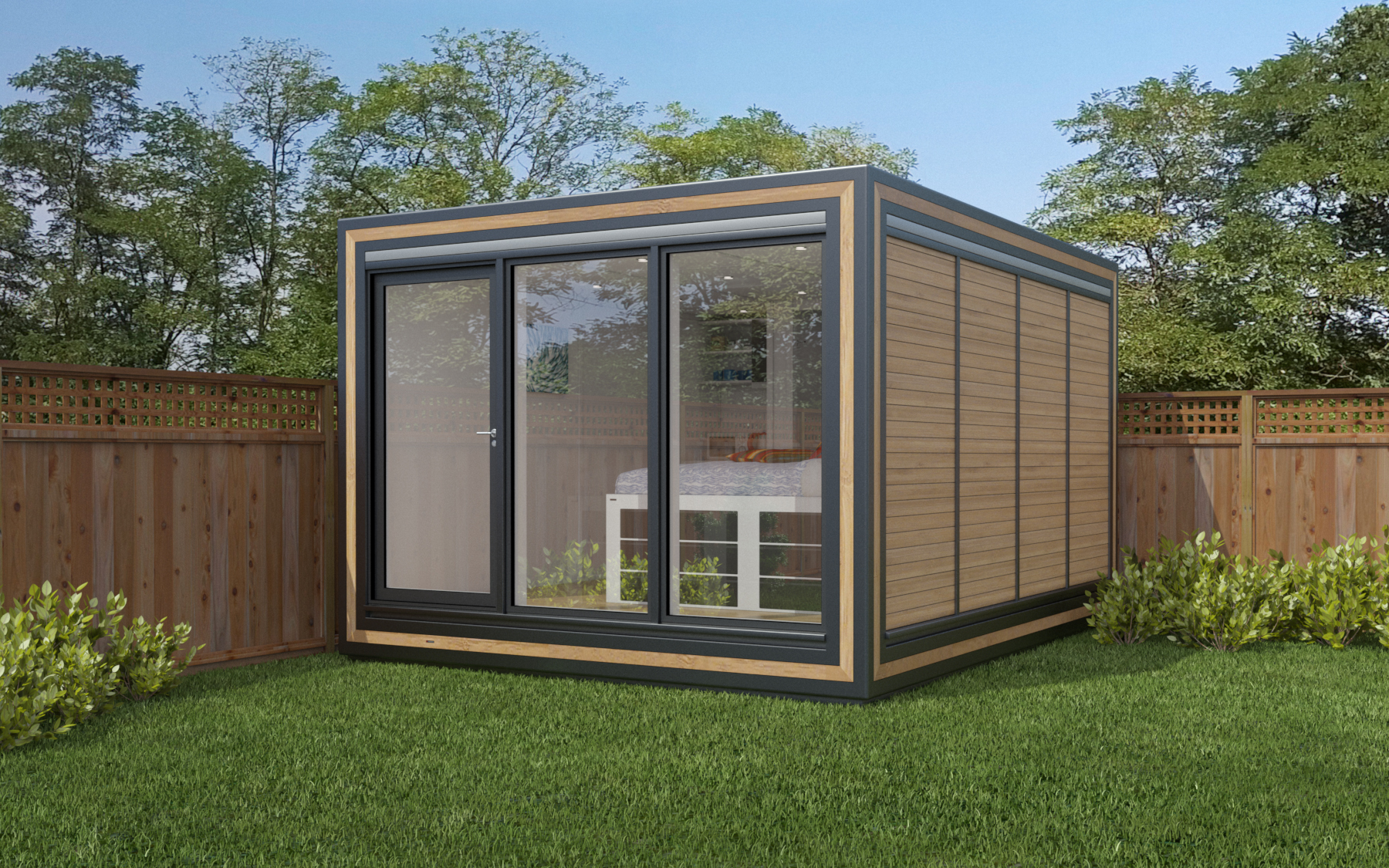 ZEDBOX 340  (3 x 4)  Internal Size: 3188 x 4259  External Size: 3658 x 4279  Bed Options: Single or Double  Kitchen Options: Micro Kitchen or Kitchen  Wet Room Options: Yes  Portico: No  Price:  £28,000    Optional Extras    Request Zedbox Catalogue