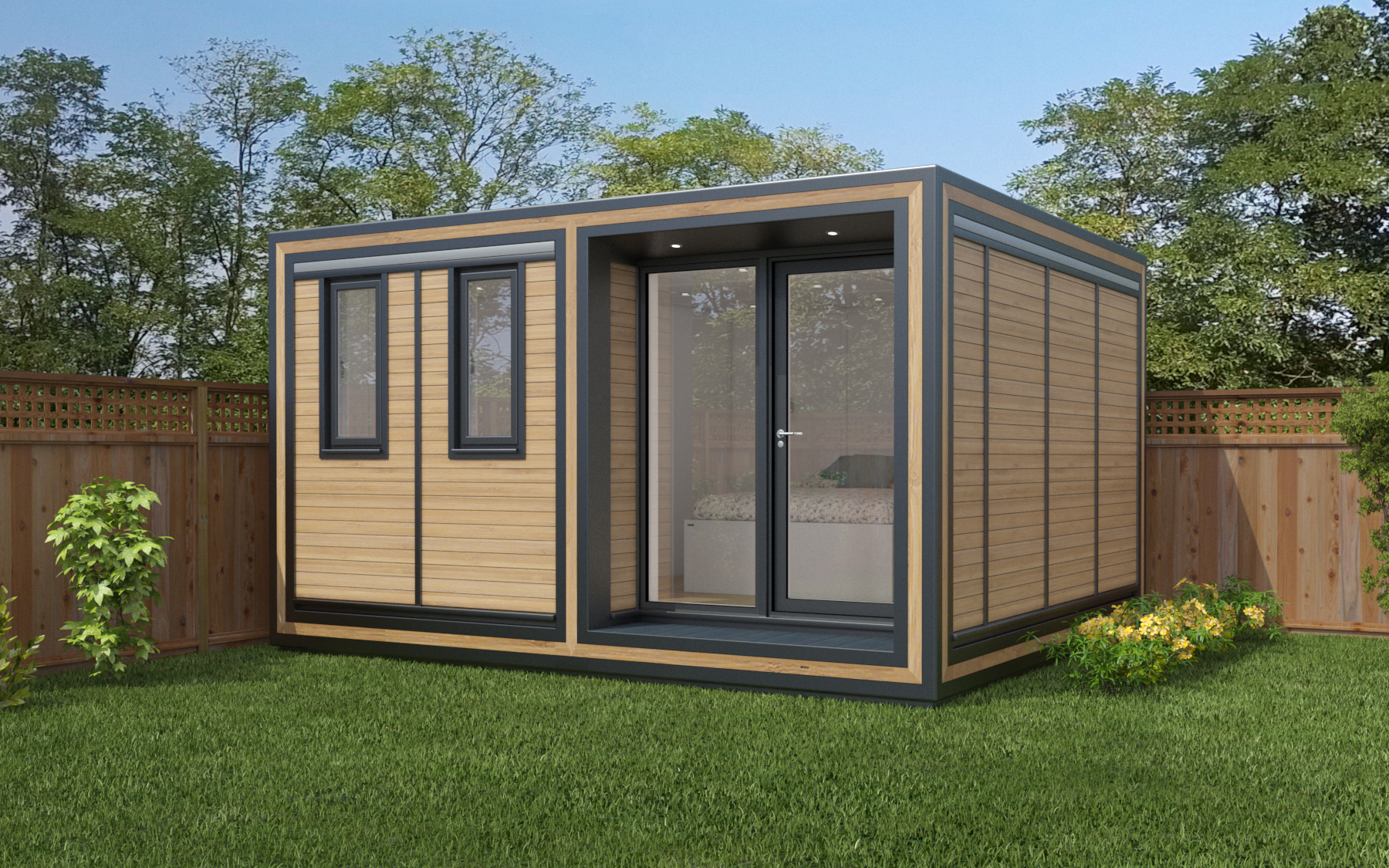 ZEDBOX 435  (3 x 3.5)  Internal Size: 4259 x 3791  External Size: 4279 x 4261  Bed Options: Single or Double  Kitchen Options: Micro Kitchen or Kitchen  Wet Room Options: Yes  Portico: Yes  Price:  £28,000    Optional Extras    Request Zedbox Catalogue