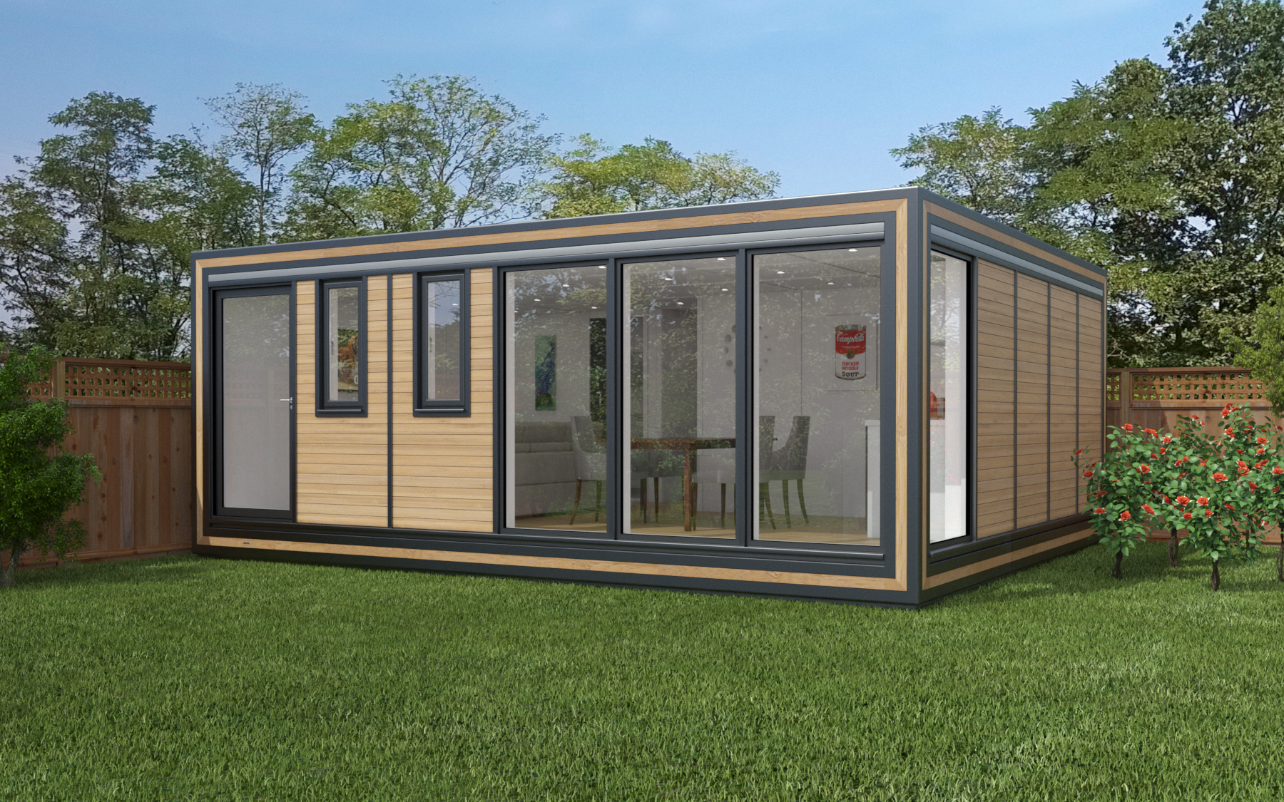 ZEDBOX 650  (6 x 5)  Internal Size: 6401 x 5330  External Size: 6871 x 5800  Bed Options: Single or Double  Kitchen Options: Micro Kitchen or Kitchen  Wet Room Options: Yes  Portico: No  Price:  £46,000    Optional Extras    Request Zedbox Catalogue