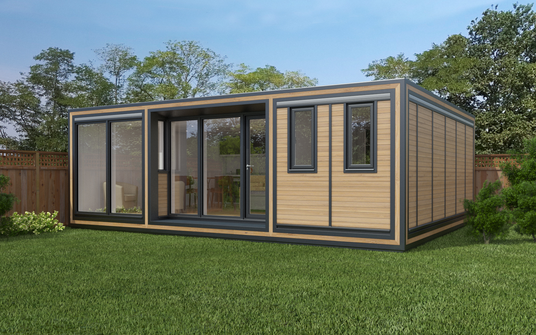 ZEDBOX 755  (7 x 5.5)  Internal Size: 7472 x 5888  External Size: 7942 x 6358  Bed Options: Single, Double or two doubles.  Kitchen Options: Micro Kitchen or Kitchen  Wet Room Options: Yes  Portico: Yes  Price:  £56,000    Optional Extras    Request Zedbox Catalogue