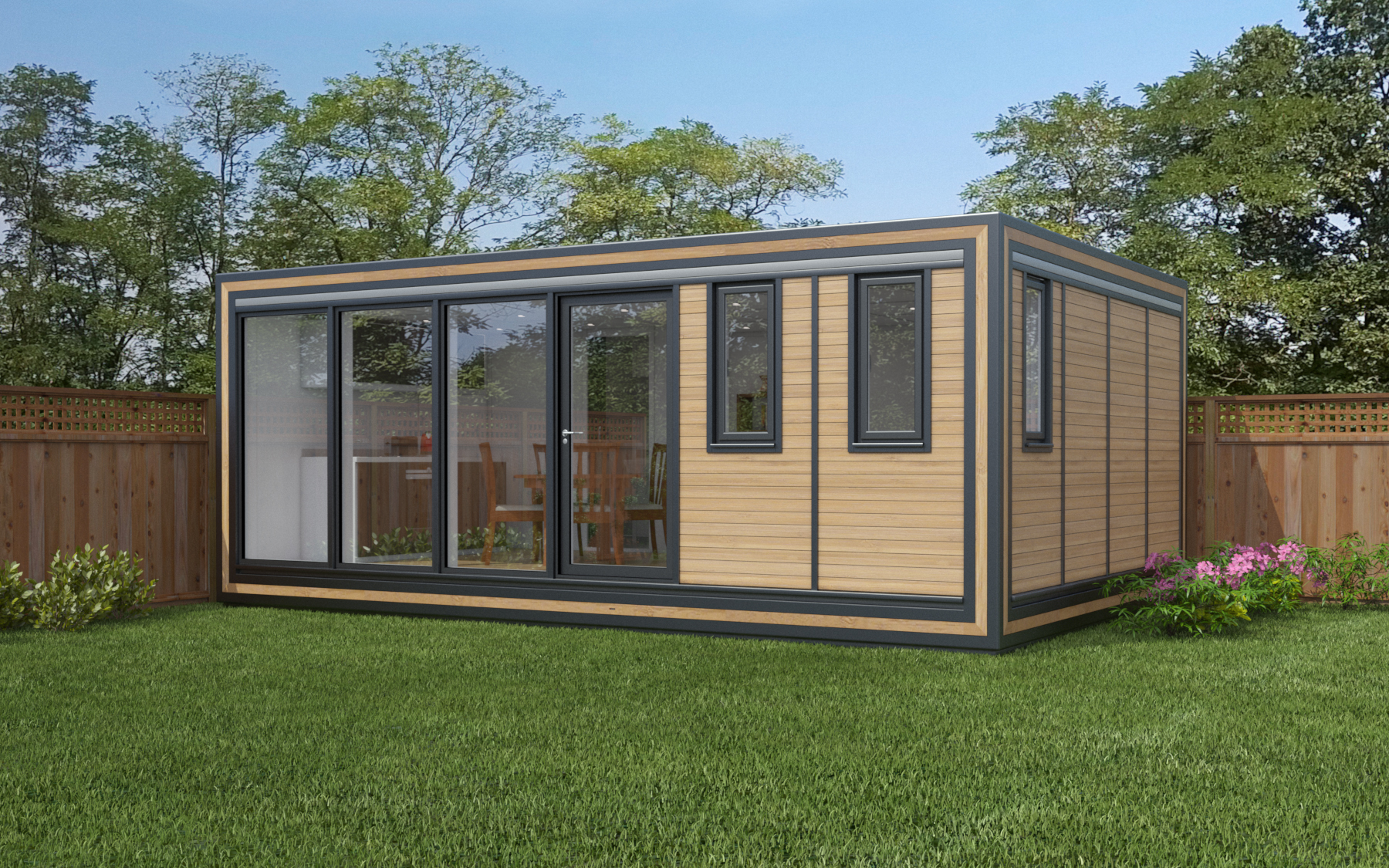 ZEDBOX 640  (6 x 4)  Internal Size: 6401 x 4259  External Size: 6871 x 4279  Bed Options: Single or Double  Kitchen Options: Micro Kitchen or Kitchen  Wet Room Options: Yes  Portico: No  Price:  £36,000    Optional Extras    Request Zedbox Catalogue