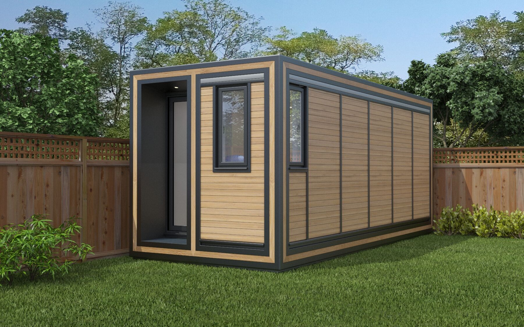 ZEDBOX 255  (2 x 5.5)  Internal Size: 2117x 5888  External Size: 2587 x 6358  Bed Options: Single or Double  Kitchen Options: Micro Kitchen  Wet Room Options: Yes  Portico: Yes  Price:  £26,000    Optional Extras    Request Zedbox Catalogue