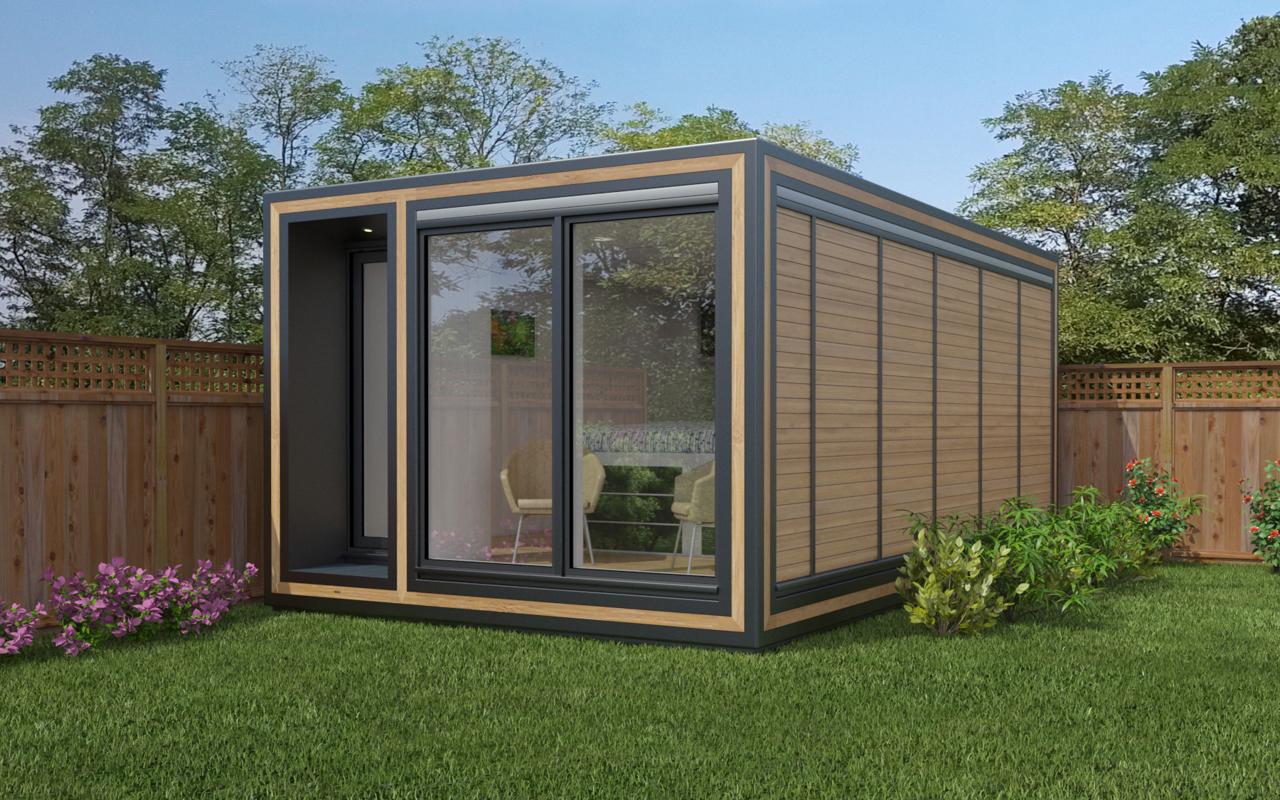 ZEDBOX 355  (3 x 5.5)  Internal Size: 3188 x 5888  External Size: 3658 x 6358  Bed Options: Single or Double  Kitchen Options: Micro or Premier  Wet Room Options: Yes  Portico: Yes  Price:  £32,000    Optional Extras    Request Zedbox Catalogue