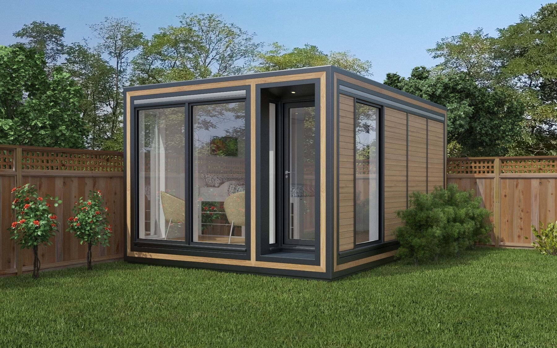 ZEDBOX 345  (3 x 4.5)  Internal Size: 3188 x 4817  External Size: 3658 x 5287  Bed Options: Single or Double  Kitchen Options: Micro Kitchen or Kitchen  Wet Room Options: Yes  Portico: Yes  Price:  £29,000    Optional Extras    Request Zedbox Catalogue