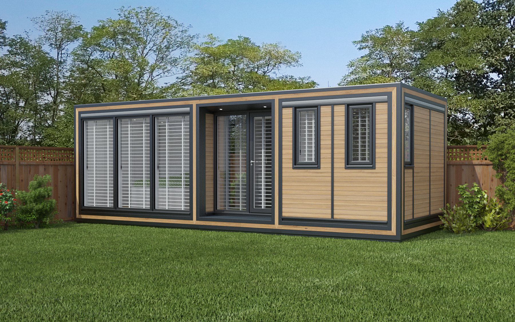 ZEDBOX 725  (7 x 2.5)  Internal Size: 7472 x 2720  External Size: 7942 x 3190  Bed Options: Single or Double  Kitchen Options: Micro Kitchen or Kitchen  Wet Room Options: Yes  Portico: Yes  Price:  £33,000    Optional Extras    Request Zedbox Catalogue