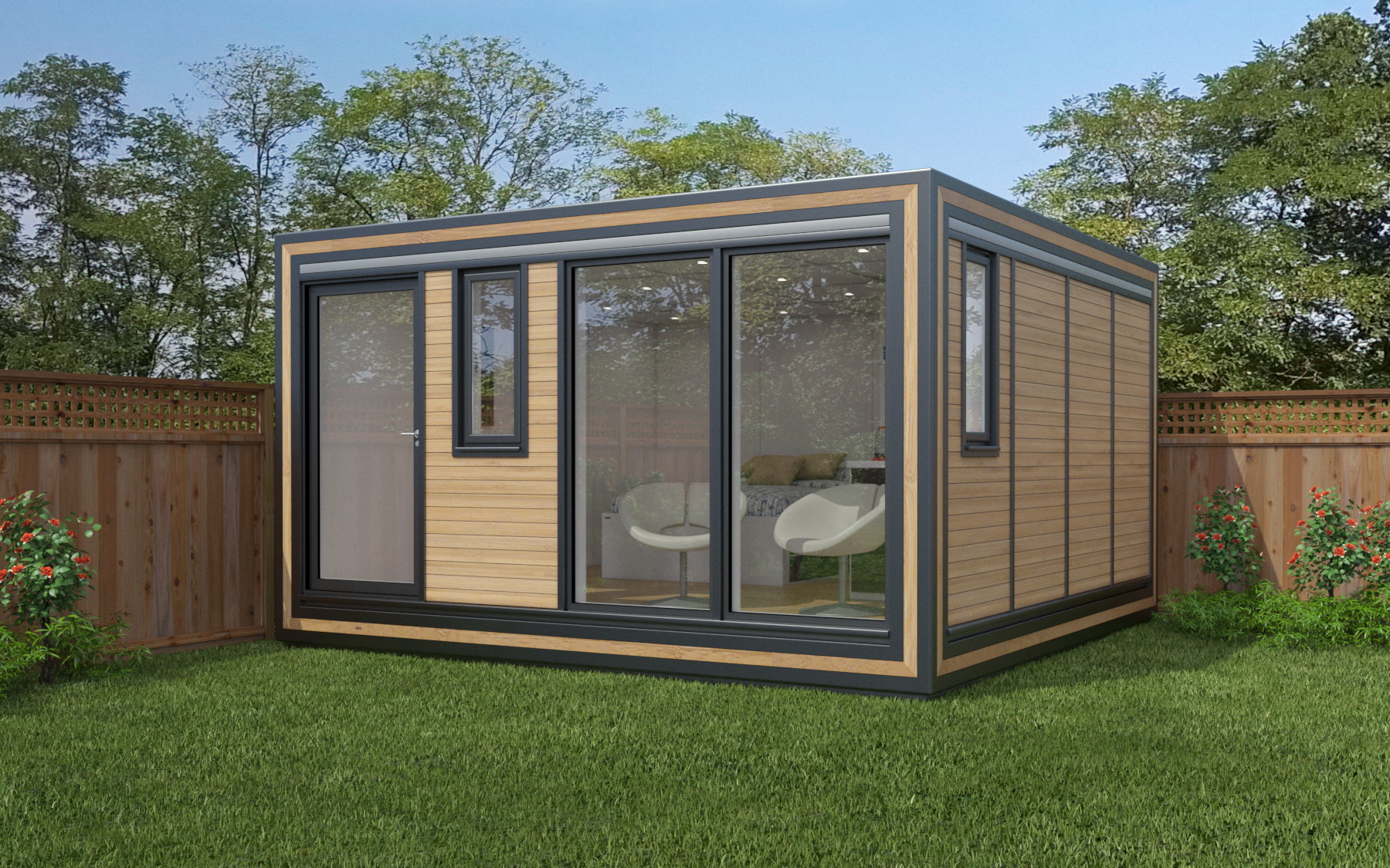 ZEDBOX 440  (4 x 4)  Internal Size: 4259 x 4259  External Size: 4279 x 4279  Bed Options: Single or Double  Kitchen Options: Micro Kitchen or Kitchen  Wet Room Options: Yes  Portico: No  Price:  £32,000    Optional Extras    Request Zedbox Catalogue
