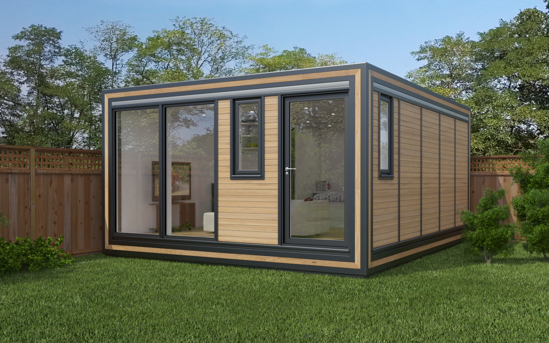 ZEDBOX 450  (4 x 5)  Internal Size: 4259 x 5330  External Size: 4279 x 5800  Bed Options: Single or Double  Kitchen Options: Micro Kitchen or Kitchen  Wet Room Options: Yes  Portico: No  Price:  £38,000    Optional Extras    Request Zedbox Catalogue