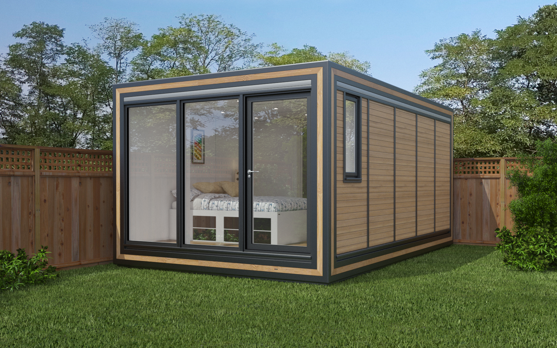 ZEDBOX 350  (3 x 5)  Internal Size: 3188 x 5330  External Size: 3658 x 5800  Bed Options: Single or Double  Kitchen Options: Micro Kitchen or Kitchen  Wet Room Options: Yes  Portico: No  Price:  £31,000    Optional Extras    Request Zedbox Catalogue