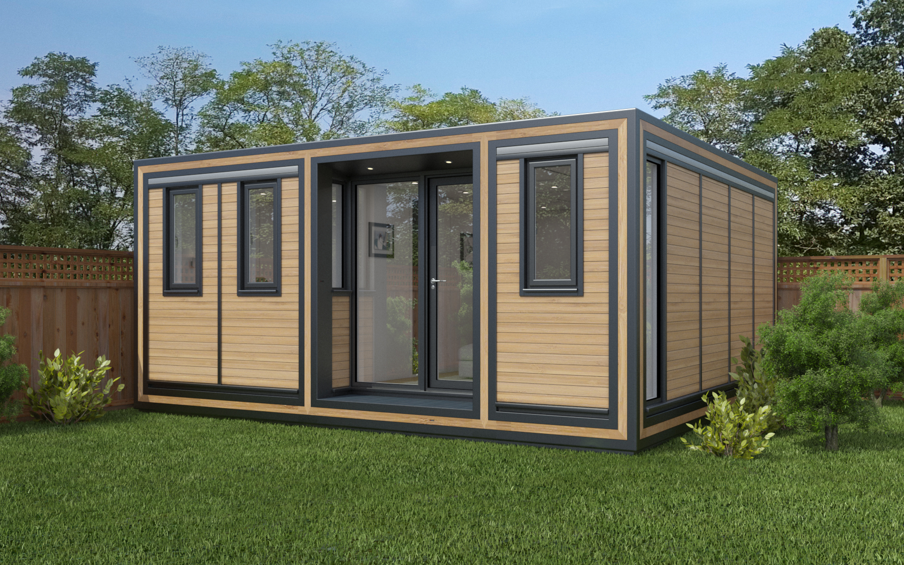 ZEDBOX 545  (5 x 4.5)  Internal Size: 5330 x 4817  External Size: 5800 x 5287  Bed Options: Single or Double  Kitchen Options: Micro or Premier  Wet Room Options: Yes  Portico: Yes  Price:  £38,000  *Excl Groundworks & Optional Extras   Optional Extras    Request Zedbox Catalogue