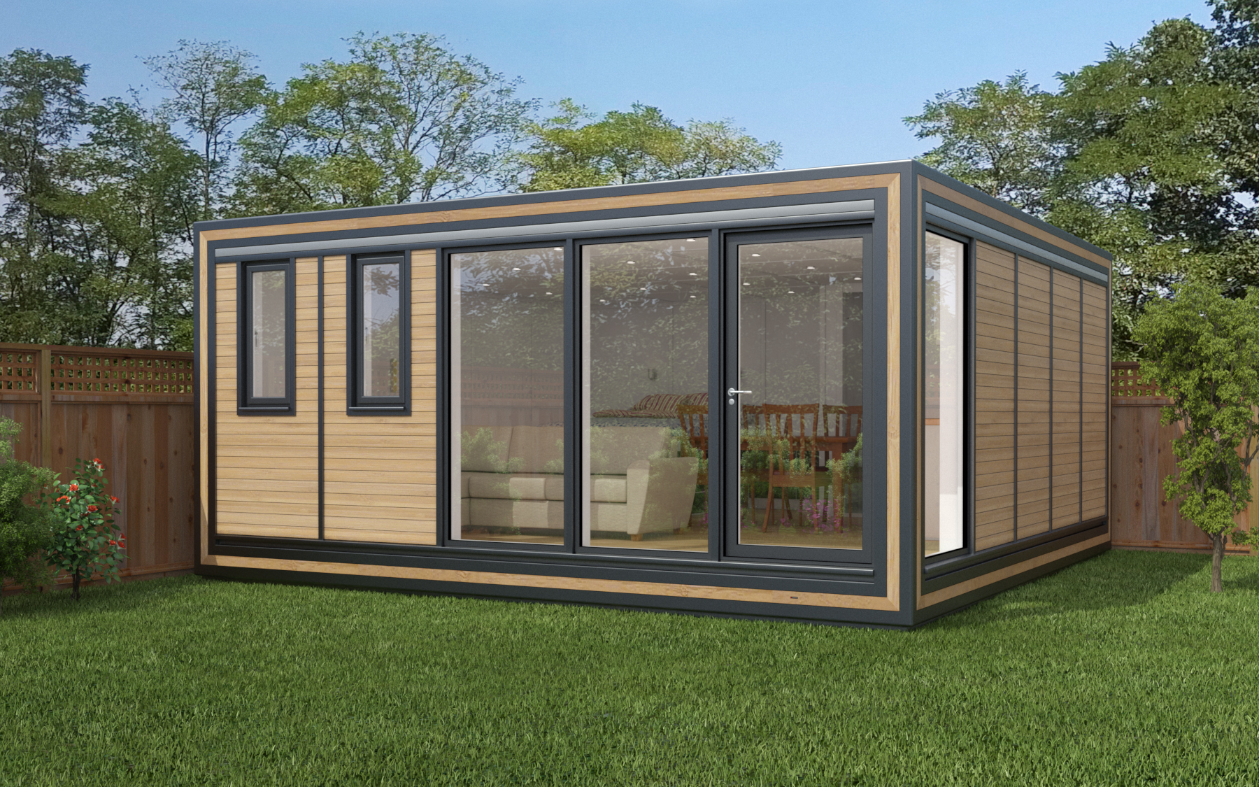 ZEDBOX 550  (5 x 5)  Internal Size: 5330 x 5330  External Size: 5800 x 5800  Bed Options: Single or Double  Kitchen Options: Micro or Premier  Wet Room Options: Yes  Portico: No  Price:  £43,000    Optional Extras    Request Zedbox Catalogue