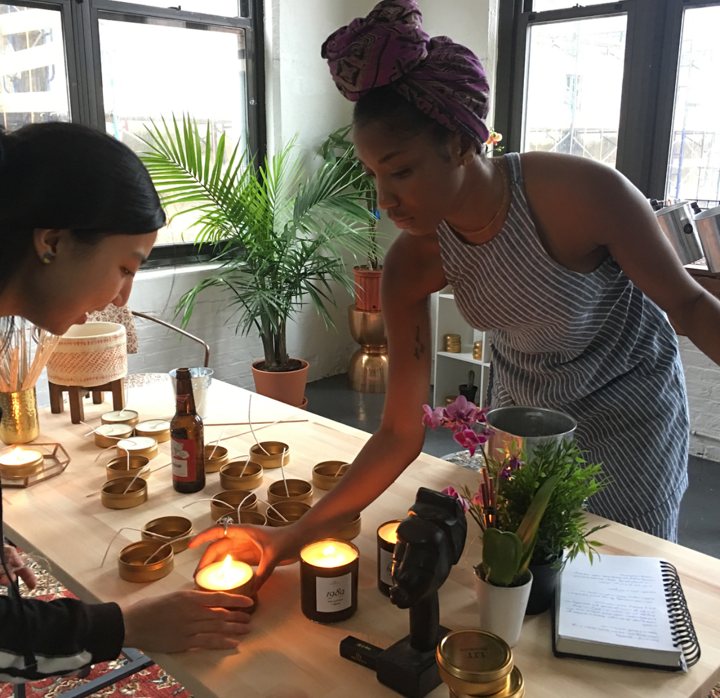 Hand pouring candles for LitBklyn