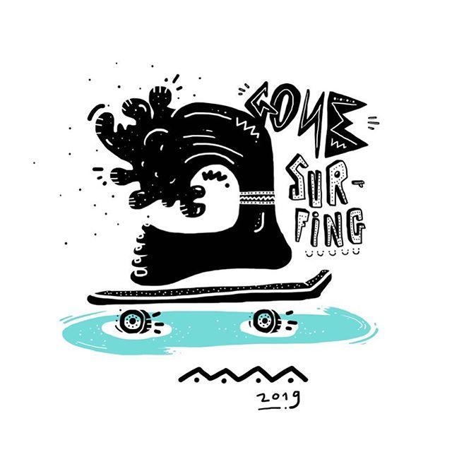 🍍Weekend mooooood🍍#surf #surfing #surf4fun #laluqueria #ilustracion #creativestudio #skate #skateboard #skate4fun #sk8 #illustration #illustrationoftheday #madrid