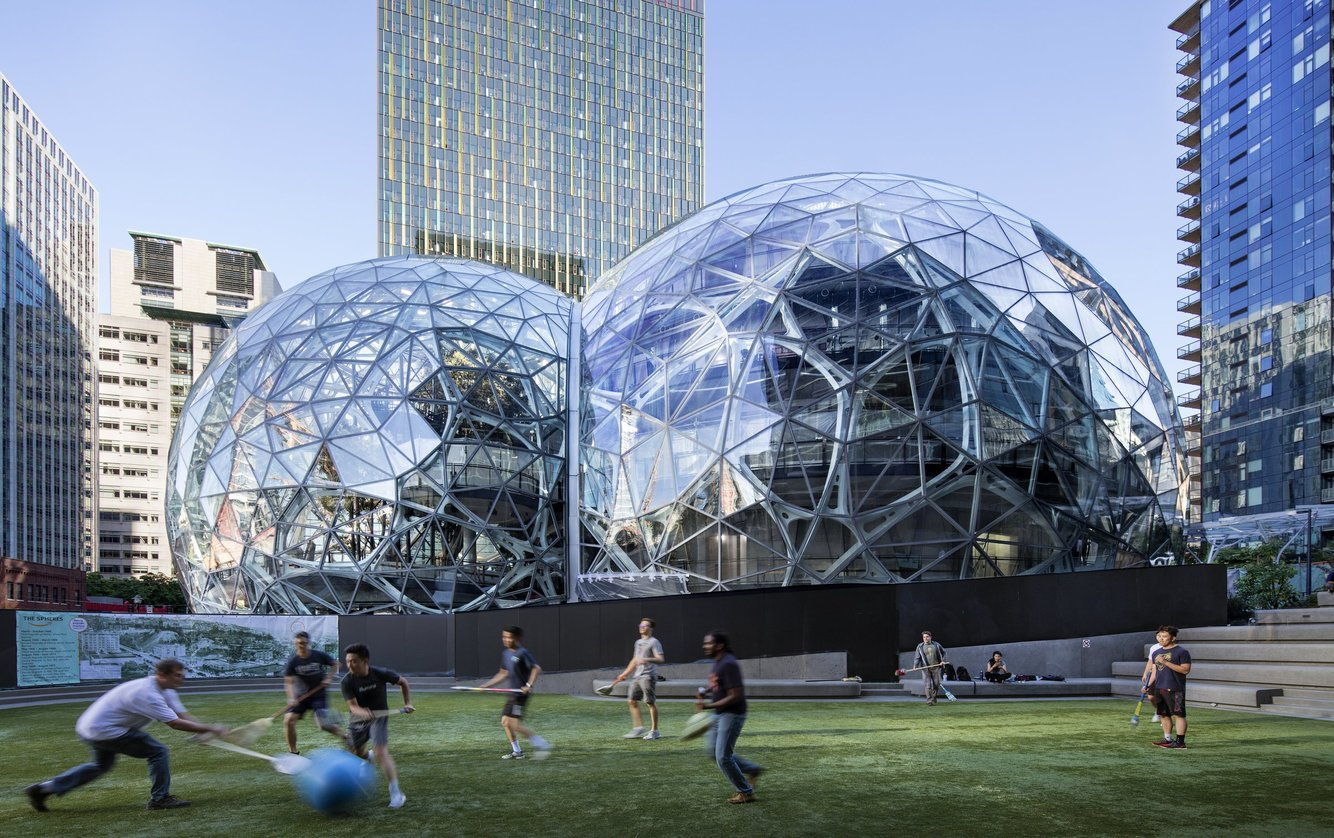 The Amazon spheres in downtown Seattle (Steve Ringman / The Seattle Times)