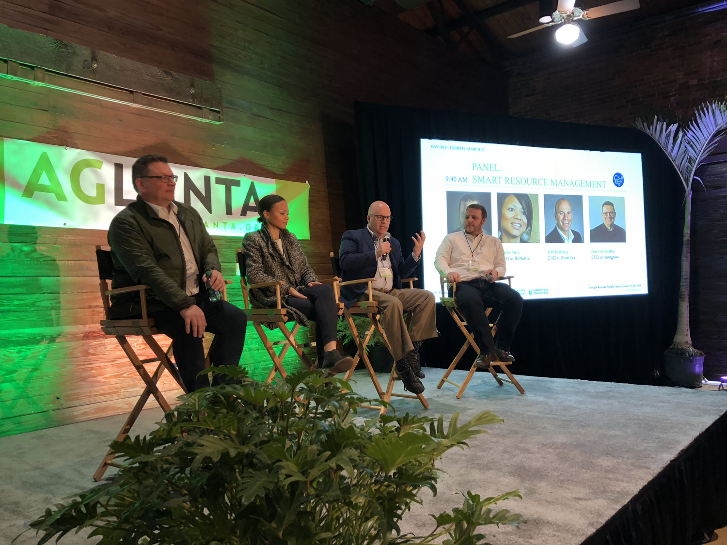 "The ""Smart Resource Management"" panel sets the stage on Day 1 of AgLanta 2018, discussing how urban farms can produce more while using and wasting less."