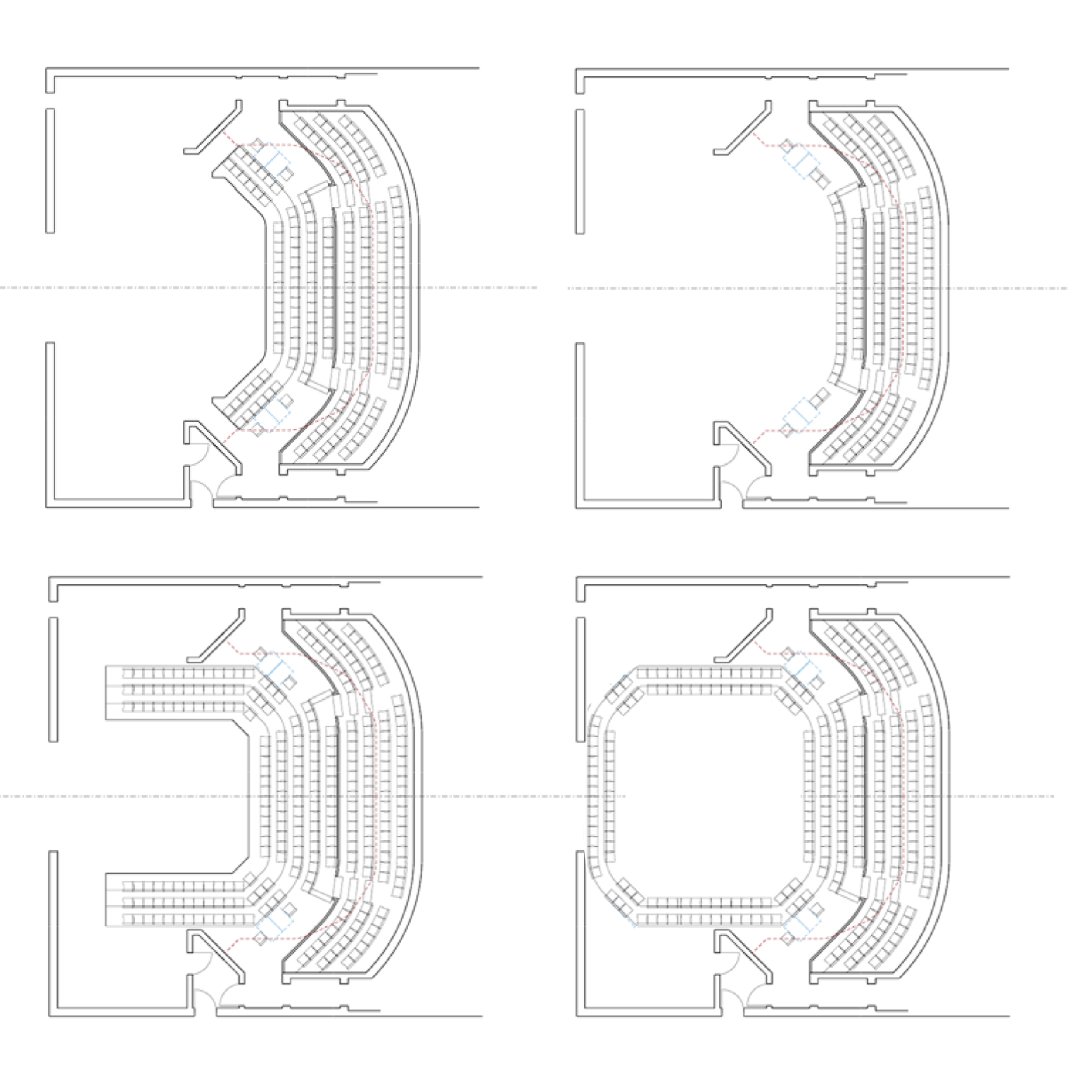 Fan, extended stage, courtyard, and in-the-round setups.