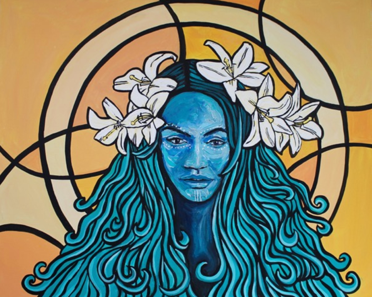 Aqua   2017. Acrylic on canvas. 24 x 30.  $600 -  SOLD