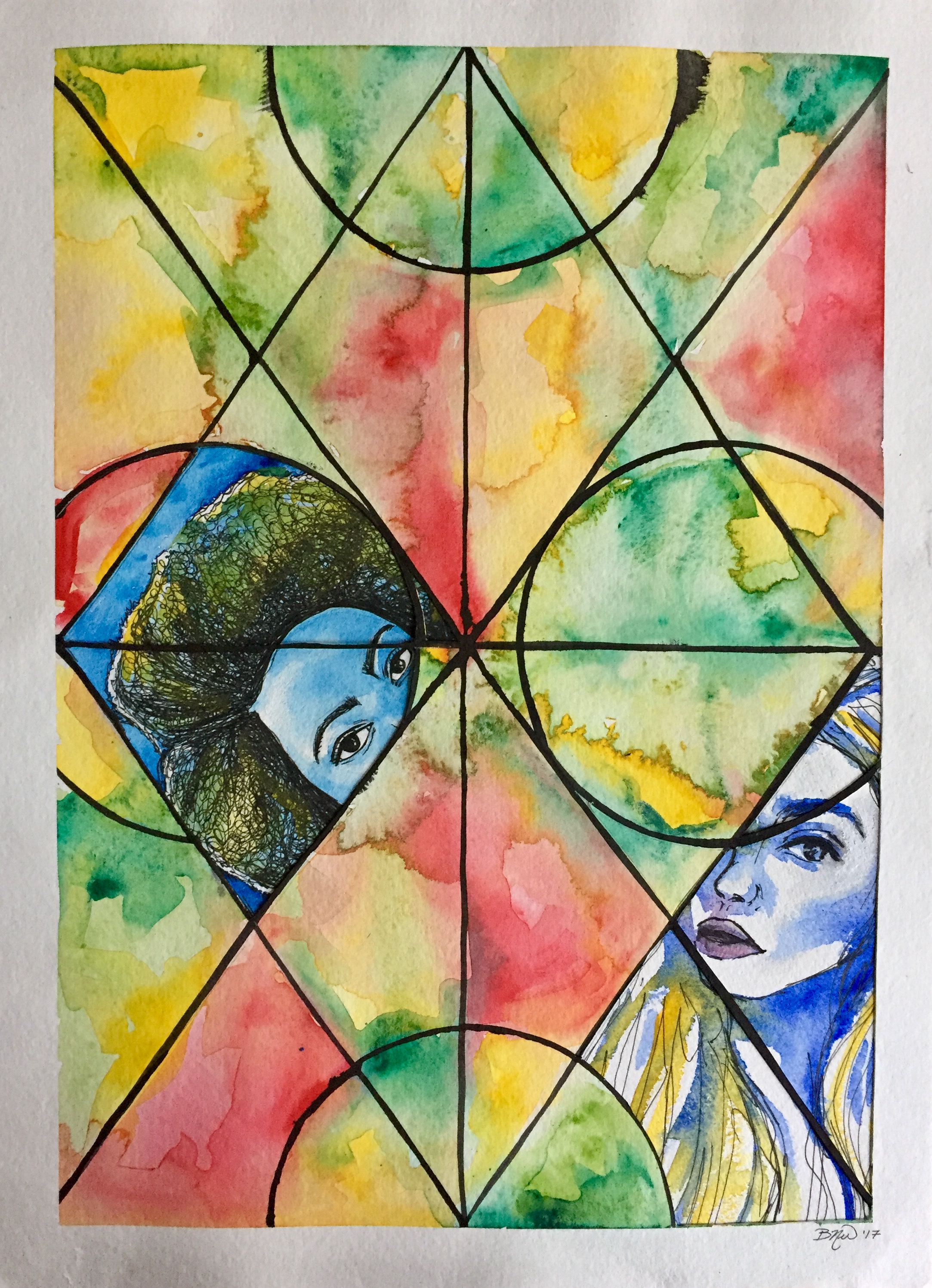 Glass Prism II   2017. Watercolor and ink collage on paper. 11 x 15.  $100 -  SOLD