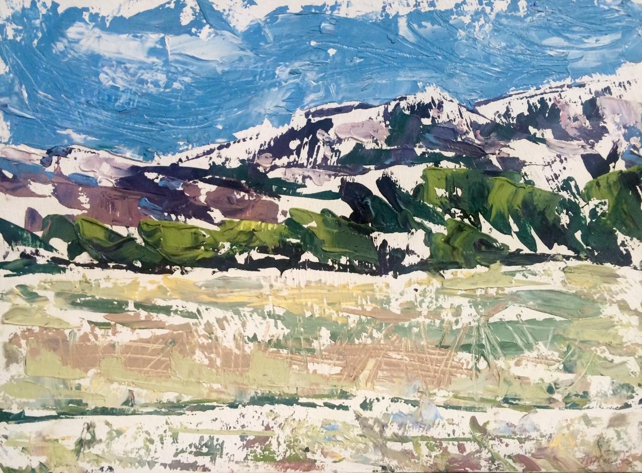 Mont Sainte-Victoire   2015. Oil on gessoed cardboard.