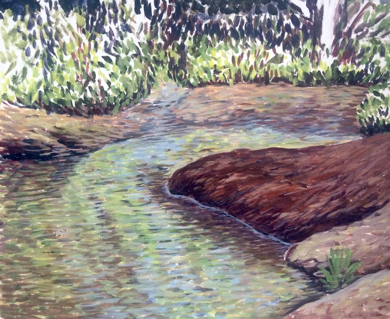The Creek   2015. Oil on gessoed cardboard.