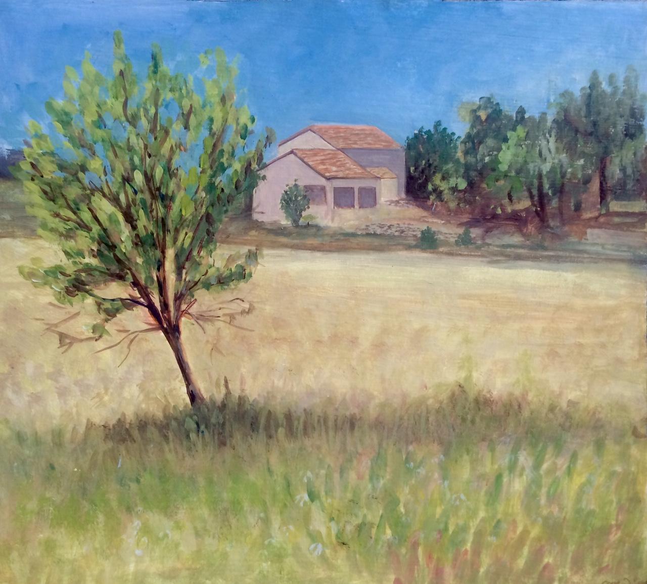 Landscape with Tree   2015. Oil on gessoed cardboard.