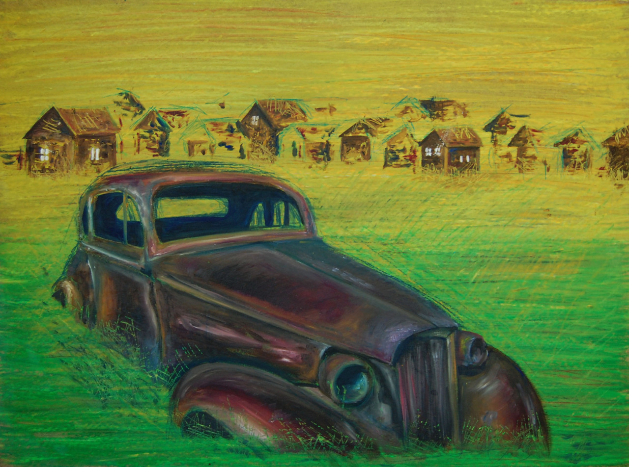 Still of a Car   2011. Mixed media on board. 18 x 24.
