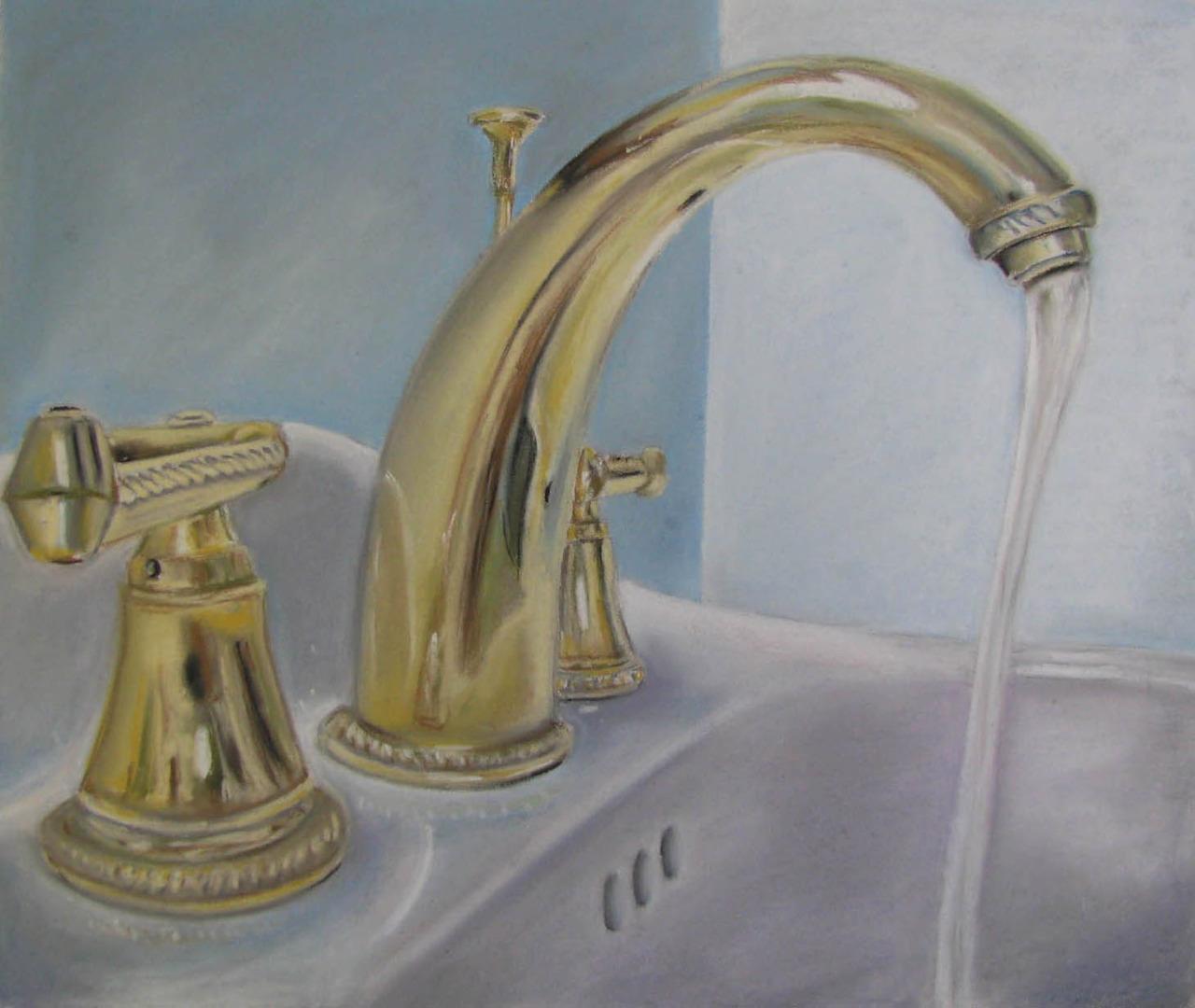 Bathroom Sink   2011. Chalk pastel on paper. 19 x 25.