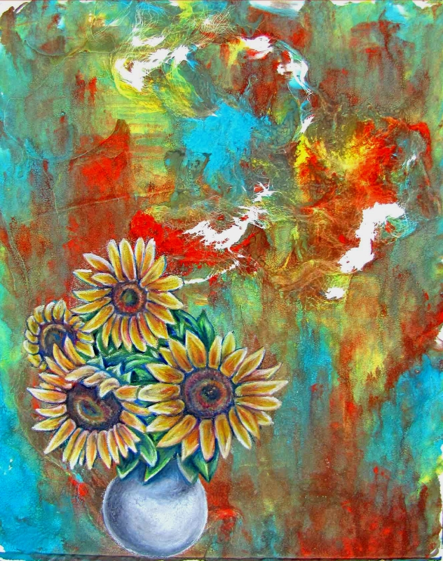 Sunflowers in Color  -  SOLD   2012. Colored pencil on ink. 8 x 11.