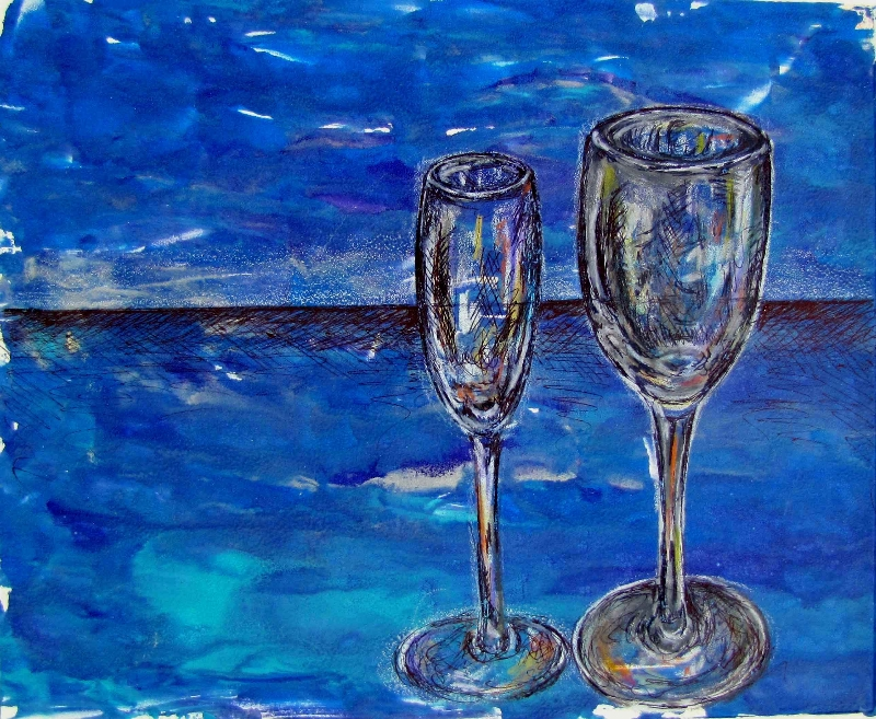Flutes in Blue   2012. Mixed media. 8 x 11.