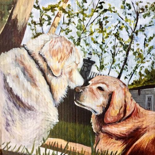 Zenkel Pups   2016. Acrylic on cardboard. 20 x 20
